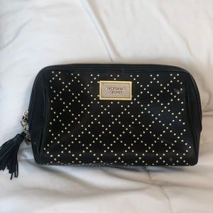 Victoria's Secret black and gold makeup bag